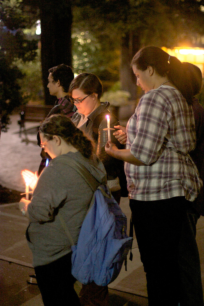 Students at Hofstra University hold a candlelight vigil to honor Tyler Clementi, a Rutgers University student who committed suicide.