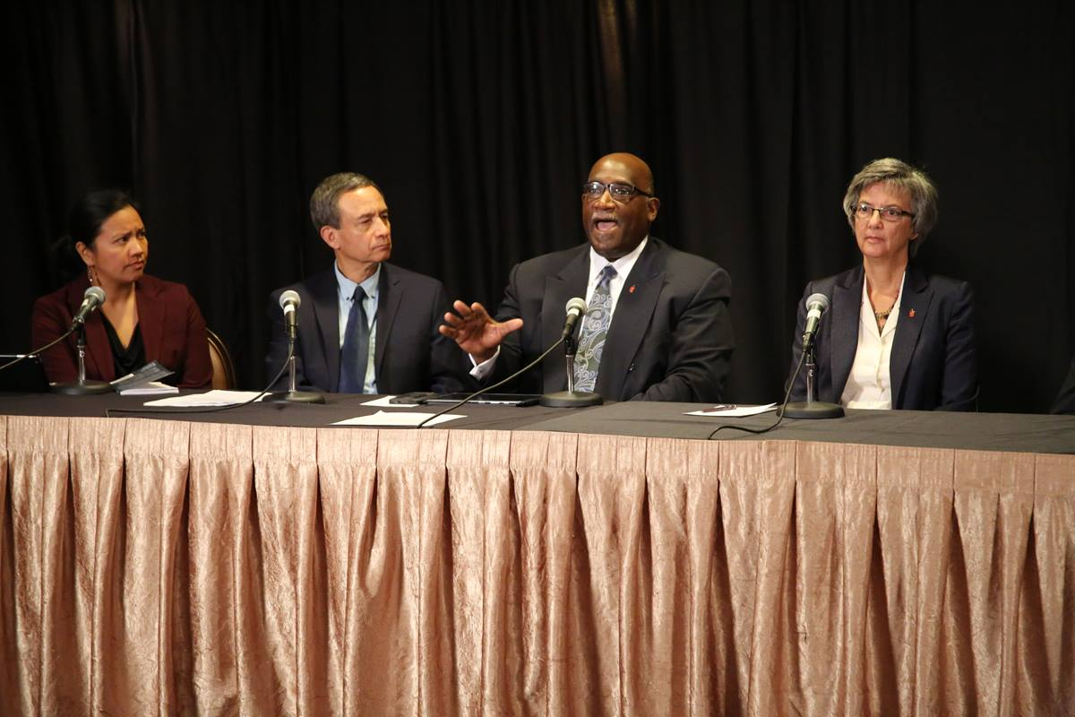 Bishop Gregory V. Palmer, second from right, speaks during a webcast on human sexuality. At his left are the Rev. Amy Valdez Barker and Neil Alexander. At his right is Bishop Hope Morgan Ward. Photo by Harry Leake, United Methodist Communications