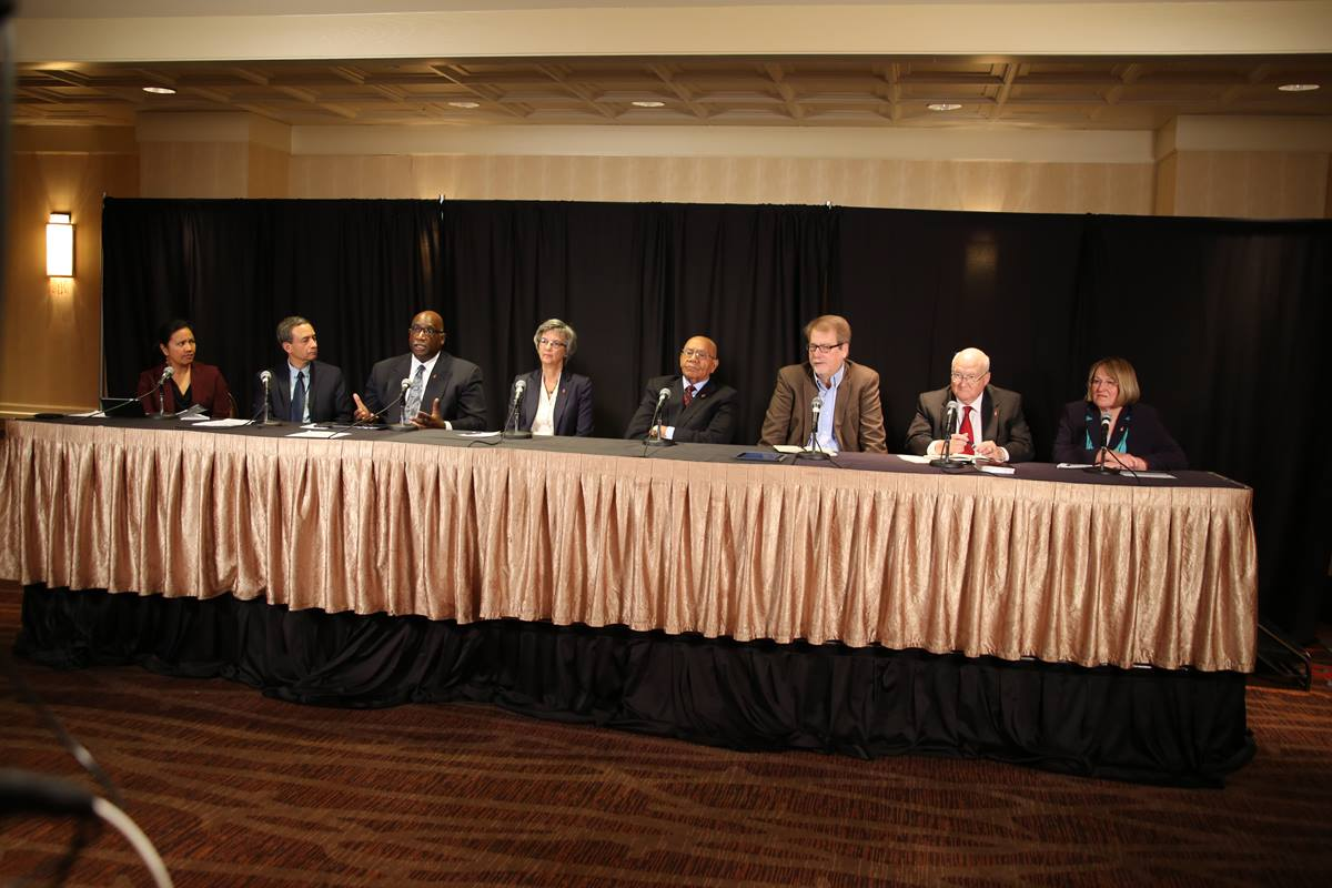 United Methodist leaders discuss the church and homosexuality during a webcast on Nov. 1 on Oklahoma City. Pictured from left are the Rev. Amy Valdez Barker, Neil Alexander and Bishops  Gregory V. Palmer, Hope Morgan Ward, Melvin G. Talbert,  Kenneth H. Carter, J. Michael Lowry and Rosemarie Wenner. Photo by Harry Leake, United Methodist Communications