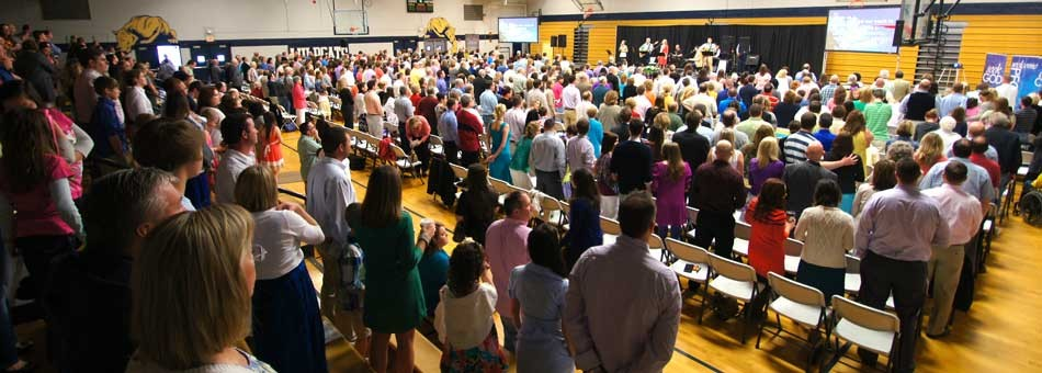 Worship at Providence United Methodist Church in Mount Juliet, Tenn. takes place in a middle school.Today the church has a regular attendance of about 1,000, but it has delayed building a church to focus on mission.  Photo courtesy of Providence United Methodist Church.