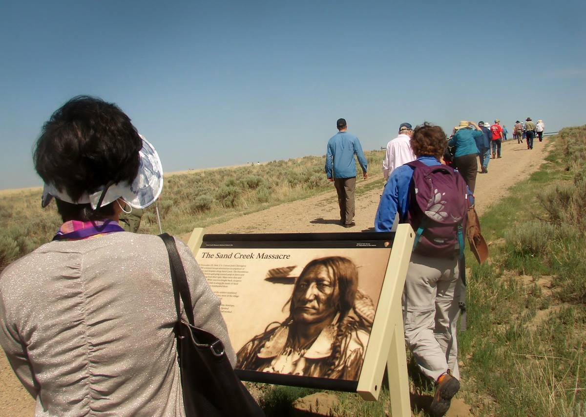 Some 650 members of the Rocky Mountain Conference and guests tour the Sand Creek Massacre National Historic Site, near Eads, Colorado, on June 20. Photo by Sam Hodges, UMNS
