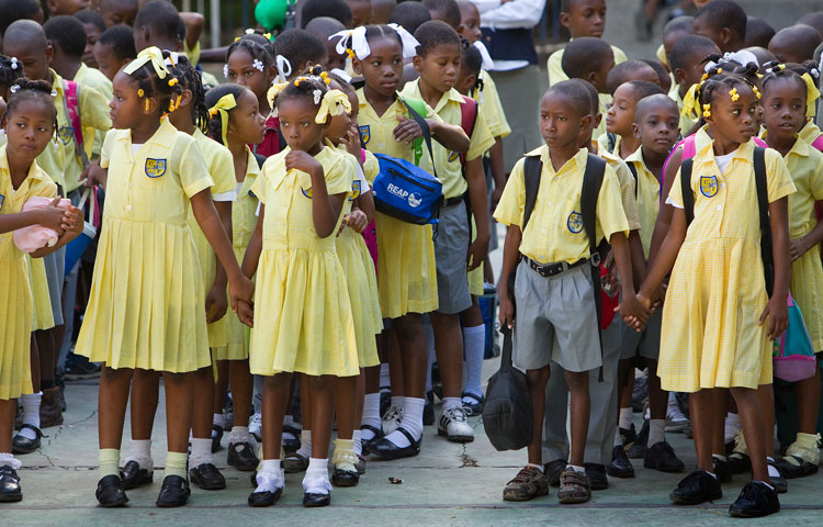 Students line up for morning assembly at the Freres School.