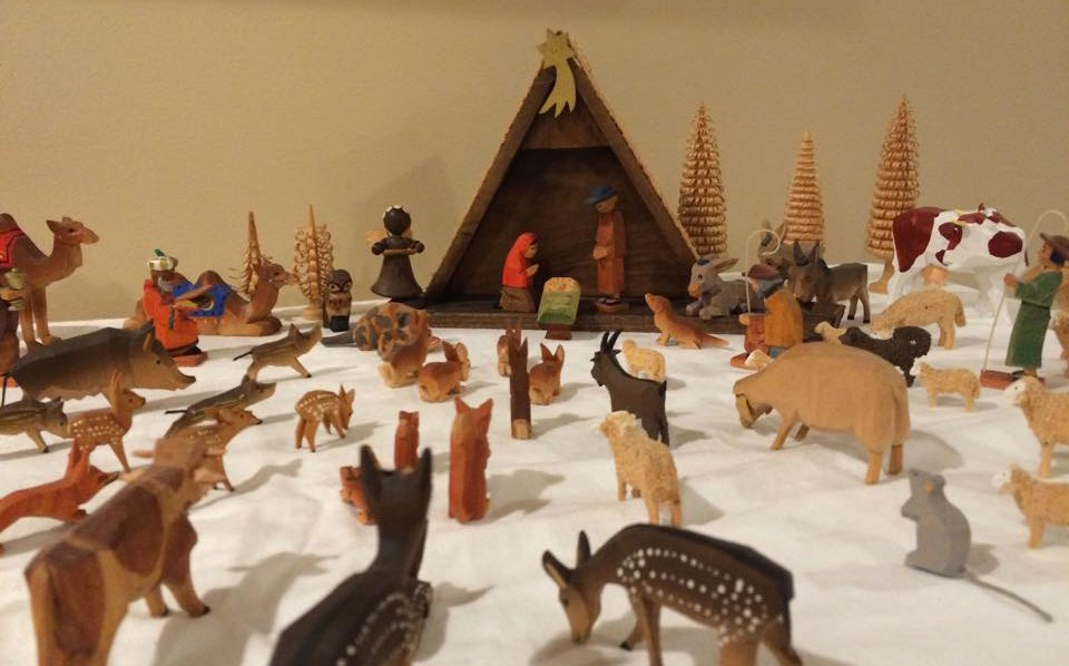 Nancy Faber's wooden manger scene was made in Germany in the 1970s. She adds new animals to the set every year. Photo by Nancy Faber.