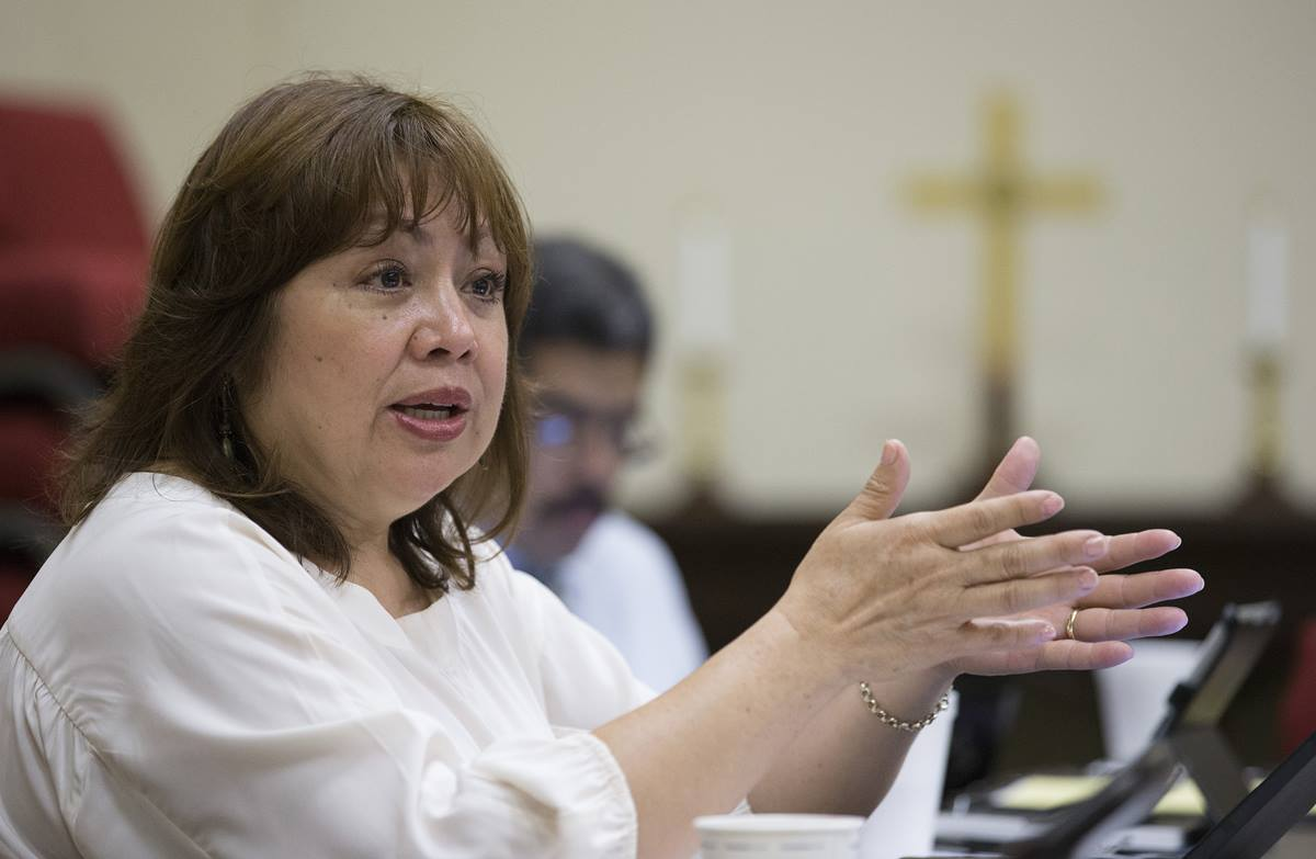 Bishop Minerva Carcaño helps conduct a strategy session on United Methodist response to the recent influx of immigrants from Central America at First United Methodist Church in McAllen, Texas.