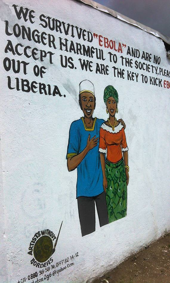 Liberia has incorporated the visual arts in mural form in order to communicate information about Ebola. This mural encourages accepting Ebola survivors.