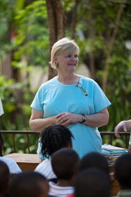 Pam Carter visiting with the children who attend the College de Freres school. Photos courtesy of David Johnson / www.silentimages.org.