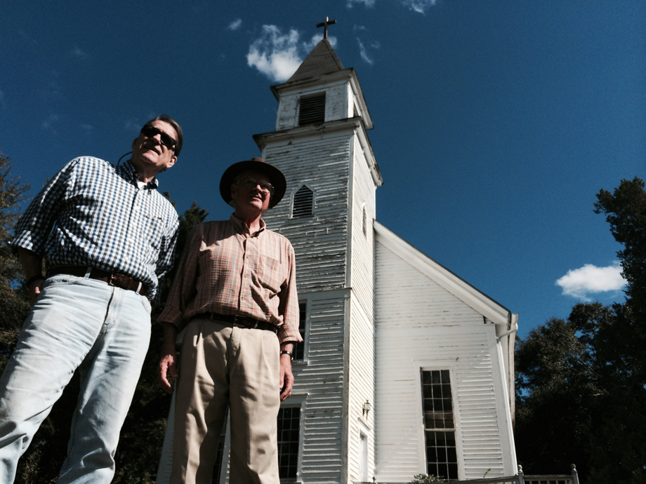 Sonny Seals (left) and George Hart of Atlanta are longtime friends who ramble the Georgia countryside looking for old rural churches that they believe should be appreciated and preserved. Photo by Mark Davis, courtesy the Atlanta Journal-Constitution.