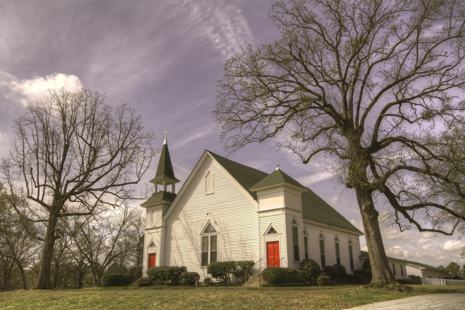Dry Pond United Methodist Church has been active in Jackson County, Ga., for more than 175 years. The current sanctuary features double steeples and dates to 1904. Photo by Scott MacInnis, courtesy Historic Rural Churches of Georgia.