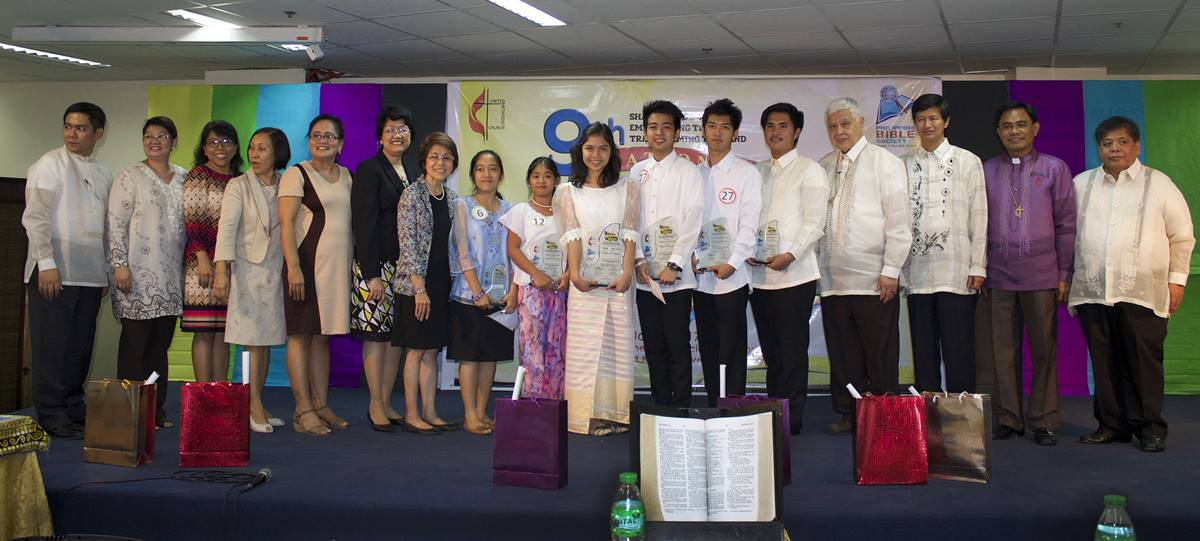 "Winners of the Ninth National Bible Quiz stand with organizers and Filipino bishops at the Philippine Bible Society Auditorium in Manila.  The theme of the 2015 quiz was ""Sharing God's World, Empowering the Poor, Transforming the Land.""  The quiz is co-sponsored by The United Methodist Church Board of Christian Education and Discipleship and the Philippine Bible Society. Photo by Gladys P. Mangiduyos, UMNS"