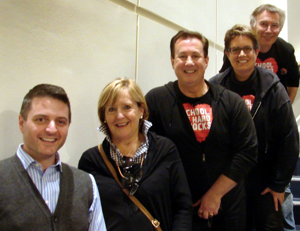 "Jonathan Palant, music minister at Kessler Park United Methodist Church, recruited opera star Frederica von  Stade to sing in the U.S. premier of ""Street Requiem."" That's Palant and von Stade at left, and after them the work's composers, Jonathon Welch, Kathleen McGuire and Andy Payne. Photo by Sam Hodges, UMNS"