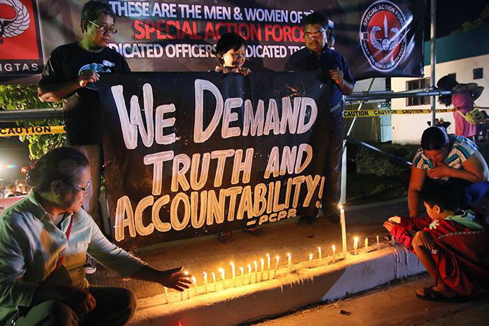 United Methodists took part in an ecumenical prayer service at for 44 police commandos killed in clash with Muslim rebels. The prayer service was at Camp Bagong Diwa in Taguig City. Photo courtesy of Kodao Productions
