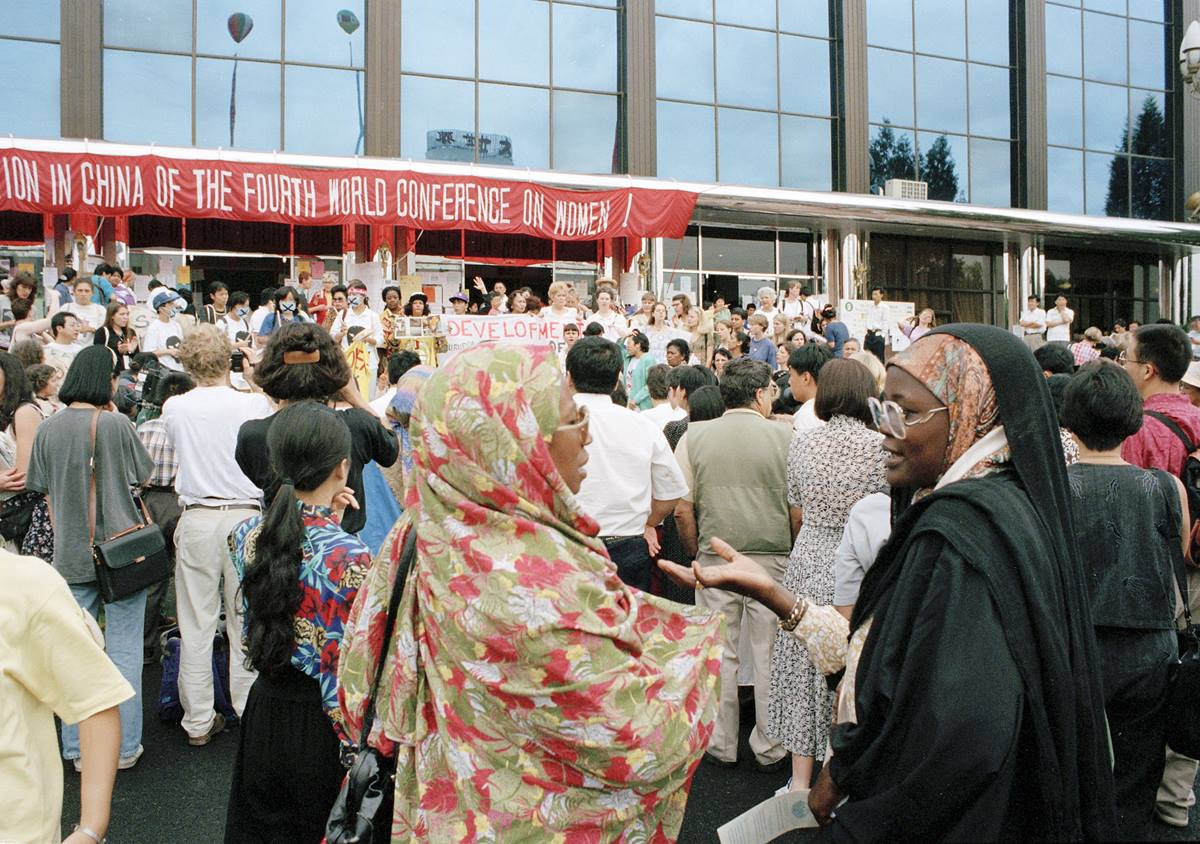 Women gather at the forum for nongovernmental organizations held in Huairou, China, part of the 1995 U.N. Fourth World Conference on Women in Beijing. Photo by Milton Grant, U.N.