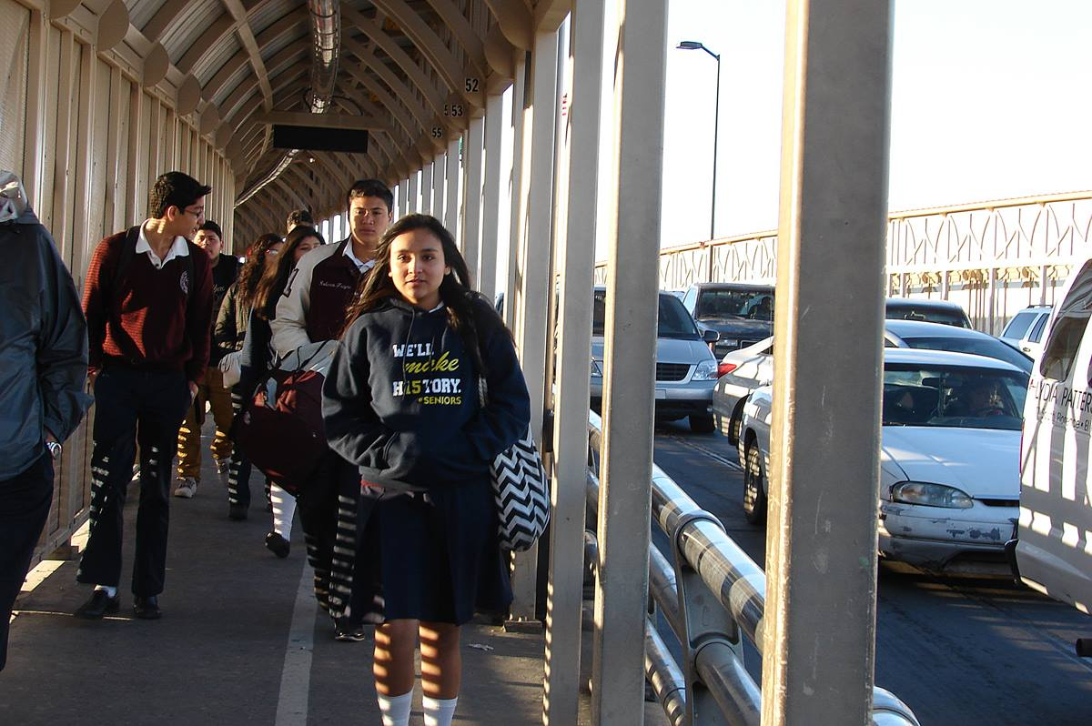 Dayna Barrera daily crosses the Stanton Street Bridge, over the Rio Grande River, to get from her home in Ciudad Juárez, Mexico, to Lydia Patterson Institute in El Paso, Texas. She's this year's valedictorian at the United Methodist school. Photo by Sam Hodges, UMNS