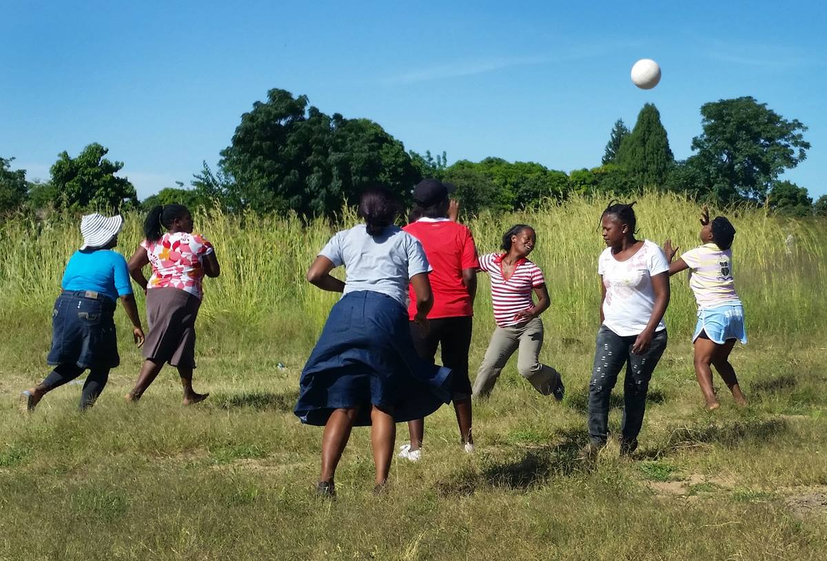 The netball team of St. Peter's United Methodist Church in Chitungwiza, Zimbabwe, practice for upcoming competition while promoting good health through exercise. Photo by Eveline Chikwanah, UMNS