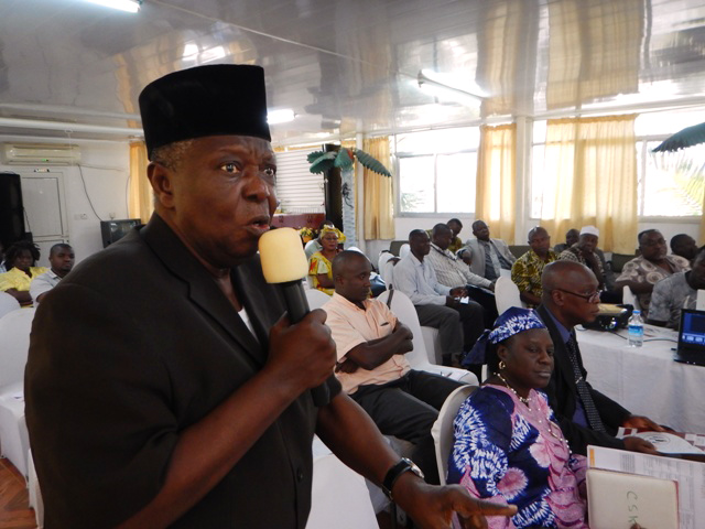 During the launch of Channels of Hope, Alhaij Jah, national chair for Islamic Action Group and founding member of the Interreligious Council of Sierra Leone, cautions funding partners to focus on denominations that have congregations throughout the country. Photo by Phileas Julu