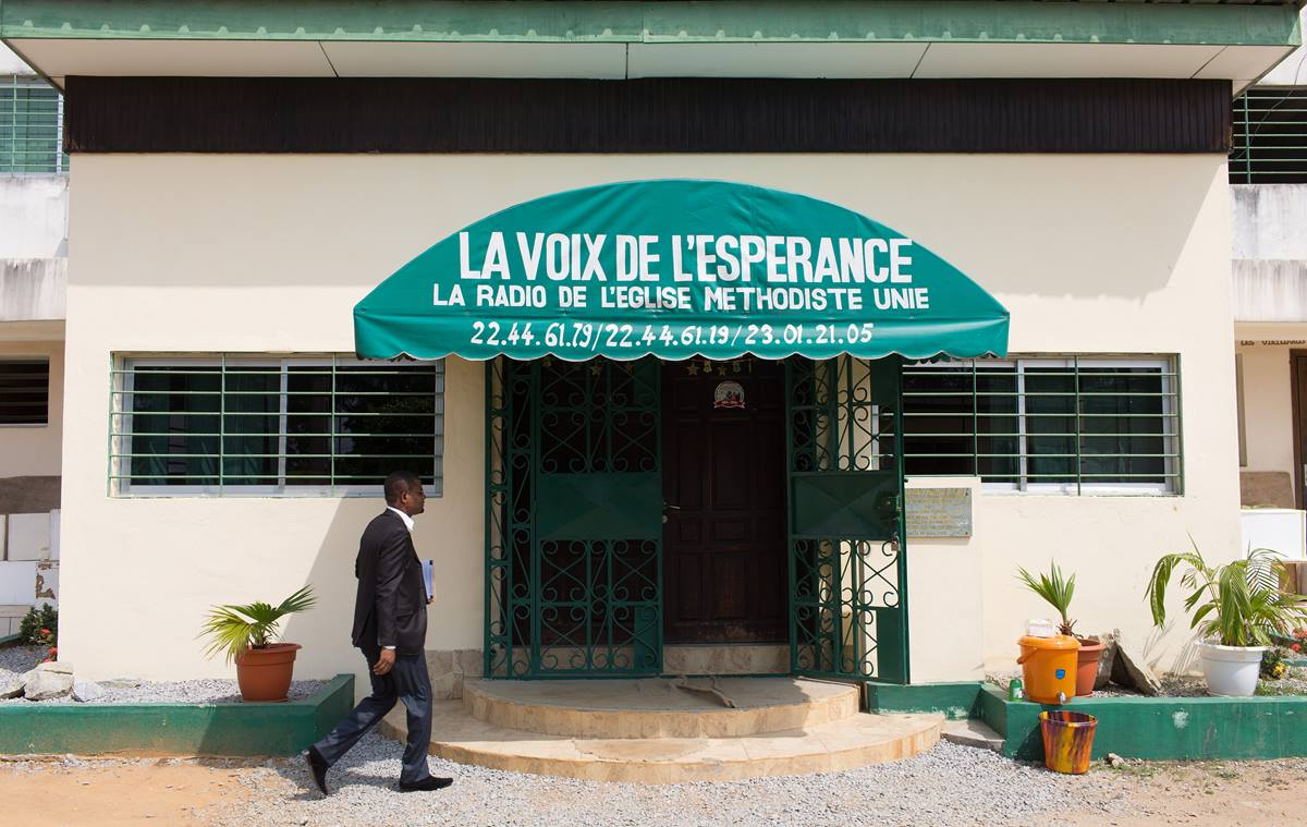 The United Methodist Church's Voice of Hope radio station broadcasts on 101.6 FM from Abidjan, Côte d'Ivoire. Photo by Mike DuBose, UMNS