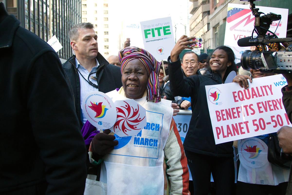 Participants in the International Women's Day March for Gender Equality and Women's Rights, including U.N. Secretary-General Ban Ki-moon (center right). The march preceded the opening of the Commission on the Status of Women.