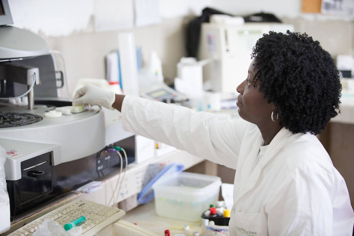 Technician Ouli Nda prepares a sample for testing in the laboratory at at Dabou Methodist Hospital in Dabou, Côte d'Ivoire.