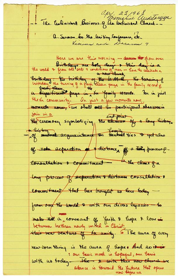 The Albert C. Outler papers at Bridwell Library include a draft of the sermon he preached at the 1968 Uniting Conference, officially creating The United Methodist Church. Photo courtesy of Bridwell Special Collections, Southern Methodist University