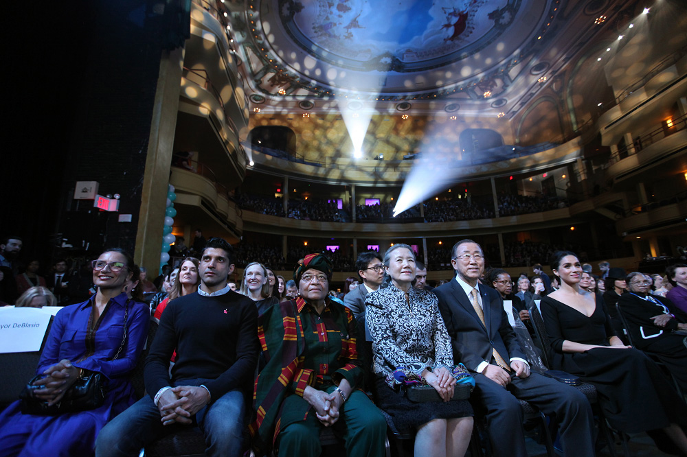"""Liberian President Ellen Johnson Sirleaf, a United Methodist, center left, joins U.N. Secretary-General Ban Ki-moon, center right, and his wife, Yoo Soon-taek, center, at a March 10 special event, """"Planet 50-50 by 2030: Step It Up for Gender Equality,"""" marking the 20th anniversary of the Beijing Declaration and Platform for Action. Photo by Ryan Brown, U.N."""