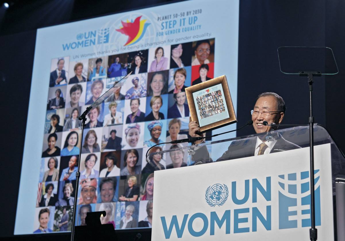 """U.N. Secretary-General Ban Ki-moon takes part in """"Planet 50-50 by 2030: Step It Up for Gender Equality,"""" a special event March 10 marking the 20th anniversary of the Beijing Declaration and Platform for Action. Photo by Chasi Annexy, U.N."""