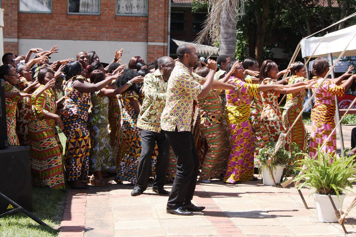 """The Africa University Choir sings a pambola as the inauguration of Munashe Furusa as the university's fourth vice chancellor ends. Pambola means """"blessings with you"""" in Lingala, a language spoken in the Democratic Republic of Congo. Photo by Vicki Brown, UMNS"""
