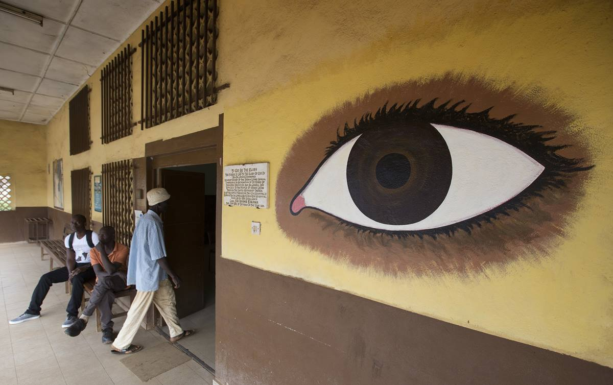 A patient enters the eye clinic at the United Methodist Church's Kissy Hospital in Freetown, Sierra Leone.