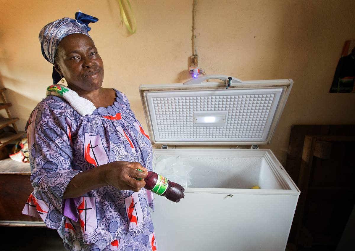 Christine Dobre received a loan from United Methodist women and bought a freezer for her juice-making business in Abidjan, Côte d'Ivoire.