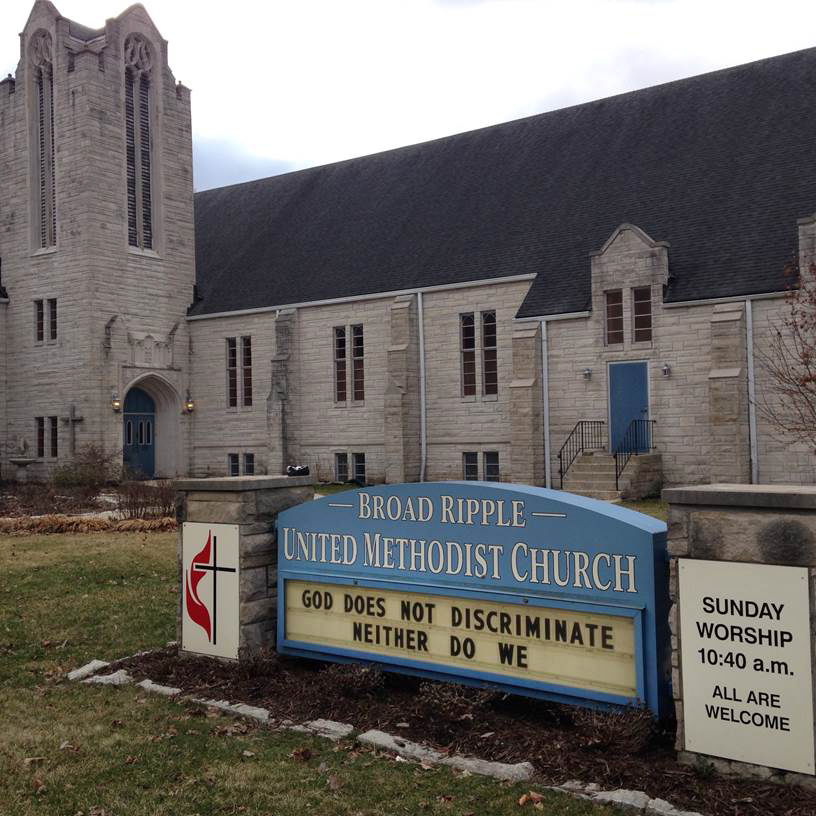 A church sign at Broad Ripple United Methodist Church in Indianapolis, Indiana, points to concerns over the state's new religious freedom law.  Photo courtesy of Broad Ripple UMC