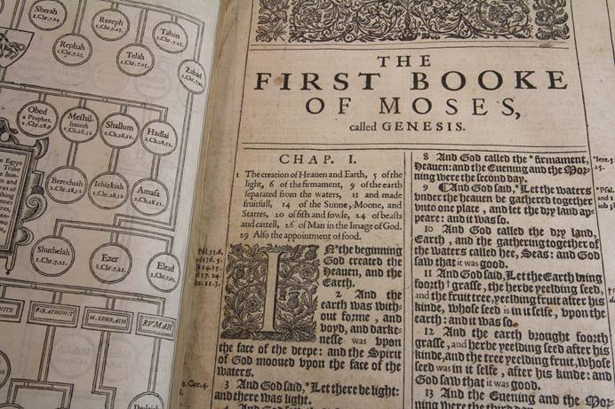A King James Bible at The United Methodist Publishing House in Nashville is believed to be a 1611 first printing, but needs to be authenticated. Photo by Kathleen Barry, United Methodist Communications