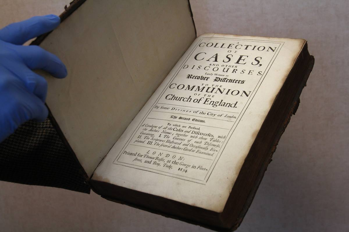 "A Collection of Cases and other Discourses lately written to recover Dissenters to the Church of England"" (London) 1694,  is one of the Rare books found in the archives of the United Methodist Publishing House in Nashville""  Photo by Kathleen Barry, United Methodist Communications"