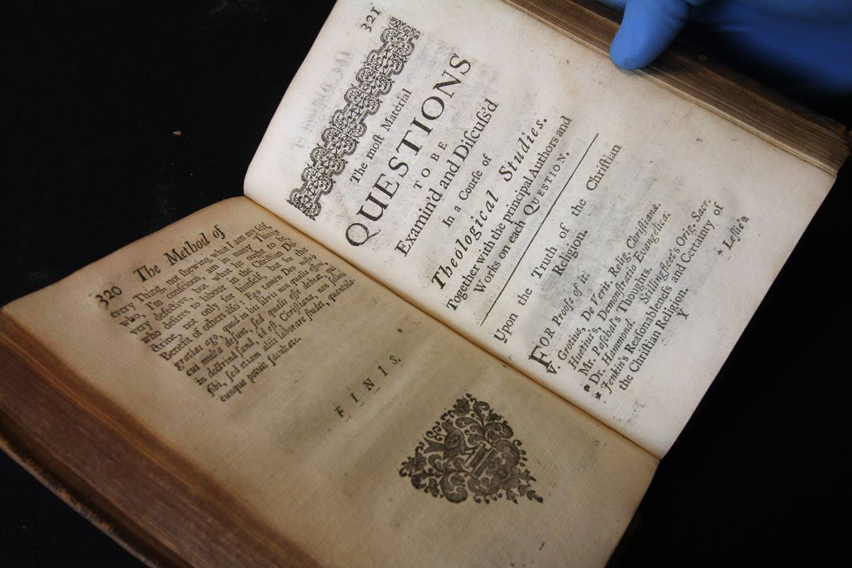 "As it prepares to move within Nashville, The United Methodist Publishing House is deciding what to do about its rare book collection. Among the treasures is a 1720 copy of ""A Complete Method of Studying Divinity."" Photo by Kathleen Barry, United Methodist Communication"