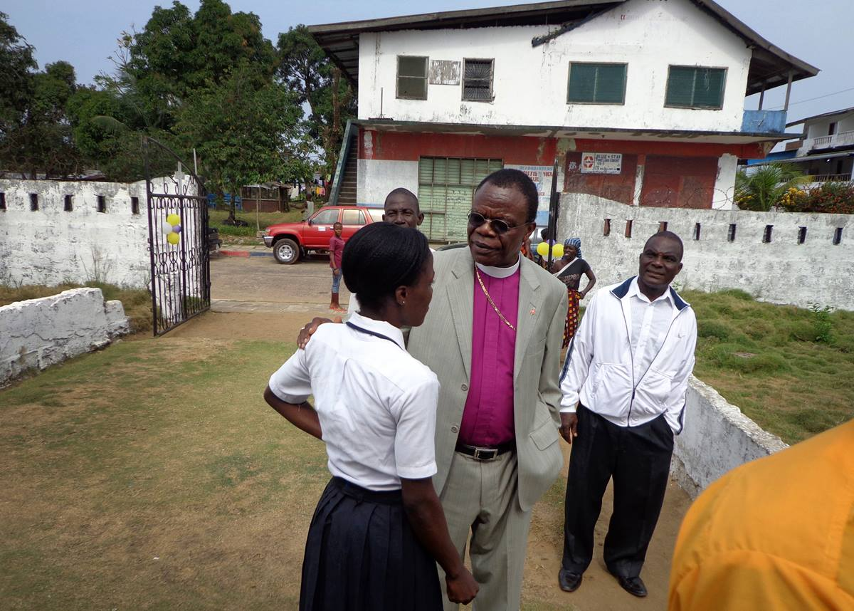 Bishop John G. Innis visits Siaffa-keh United Methodist School. The school was built by the First United Methodist Church in Monrovia and serves 310 students.  Photo by Julu Swen