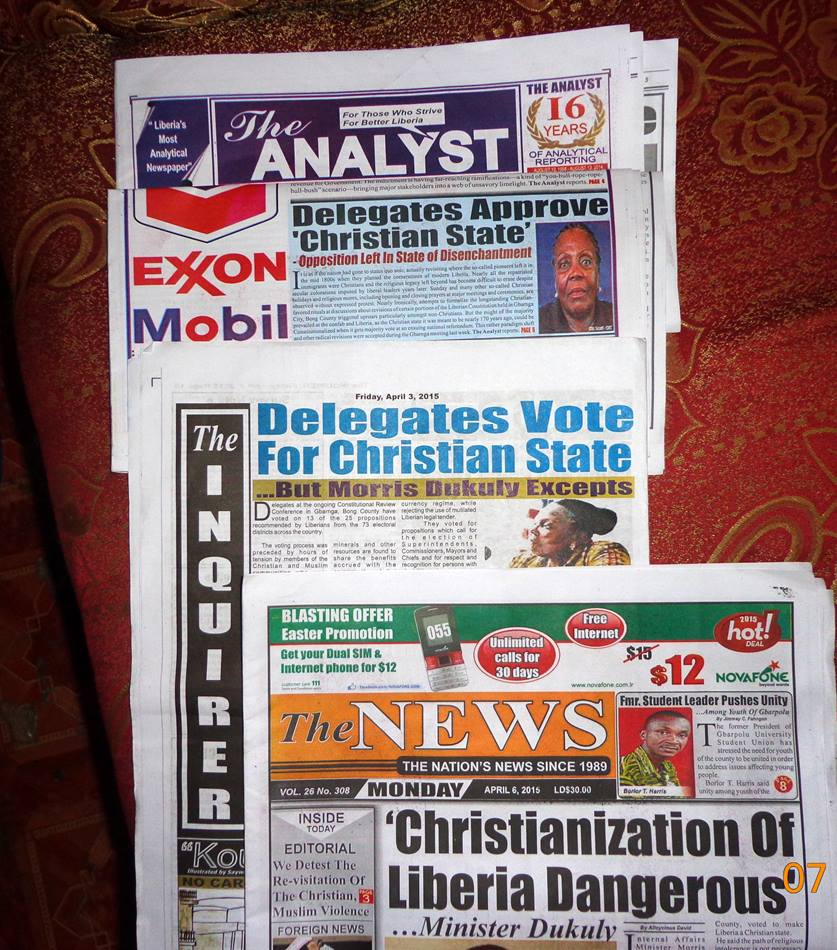 Liberian newspapers carried big headlines about the proposal to amend the constitution to declare Liberia a Christian nation. Photo by Julu Swen, UMNS