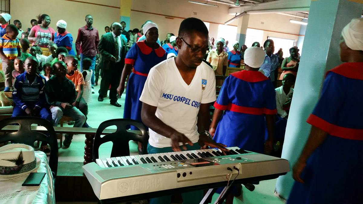 One of the key people in promoting upbeat music at the St. Peter's is music director Edmore Simbarashe Magureyi. Magureyi plays a variety of musical instruments, including the piano. Photo by Eveline Chikwanah, UMNS