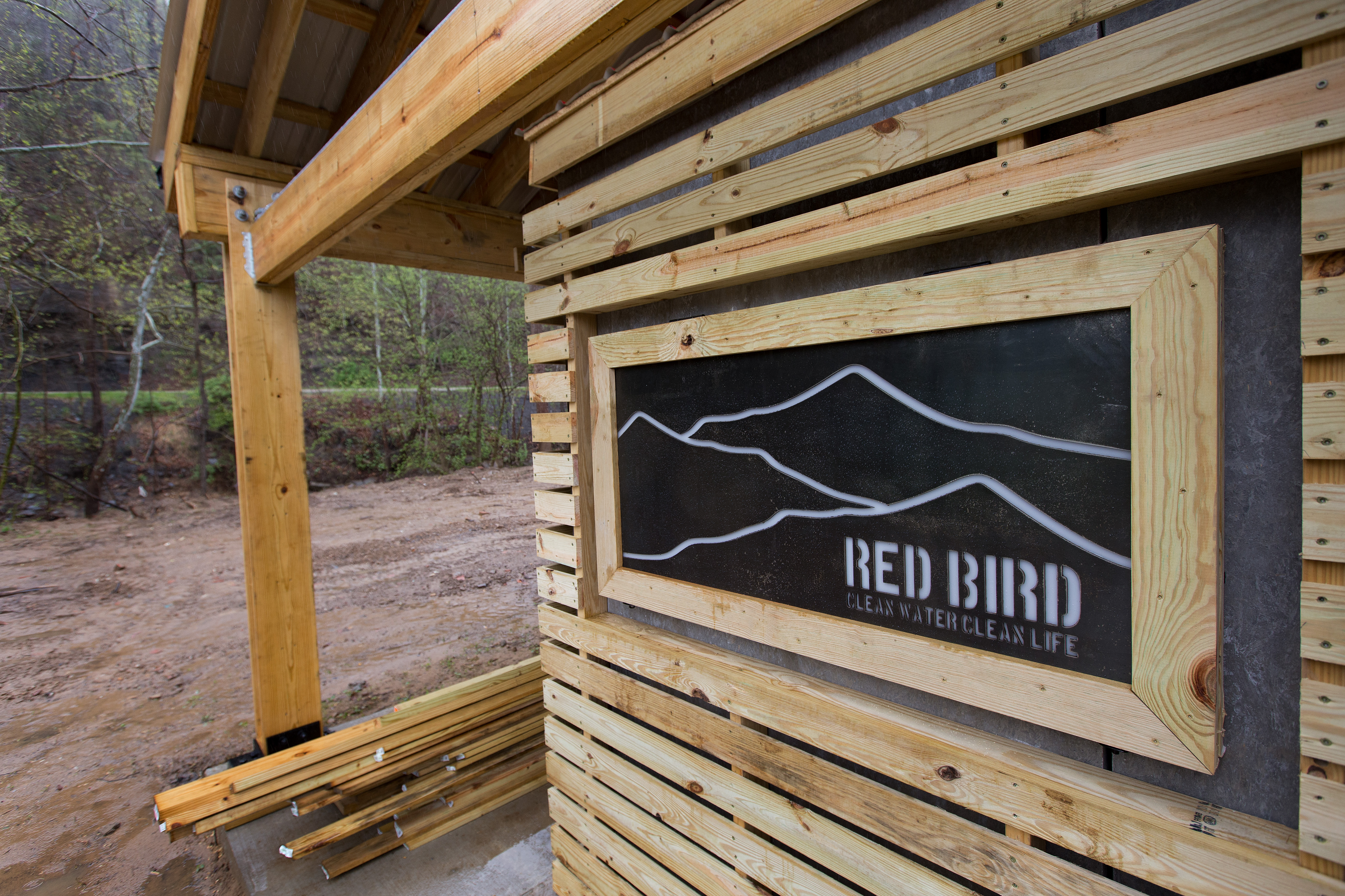 Clean drinking water will be dispensed from this kiosk at the Red Bird Missionary Conference in Beverly, Ky., when the project is completed this summer. Photo by Mike DuBose, UMNS