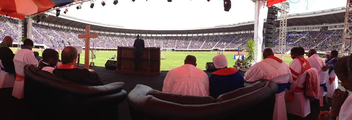 United Methodist leaders in Zimbabwe hope to host a General Conference, but questions remain about the country's treatment of gay individuals. Church leaders say the city of Harare could certainly handle the crowd, since the city hosts the Ebenezer Convention. That United Methodist gathering, shown in a 2014 photo, drew some 55,000 worshippers to Harare. Photo by Maidstone Mulenga.