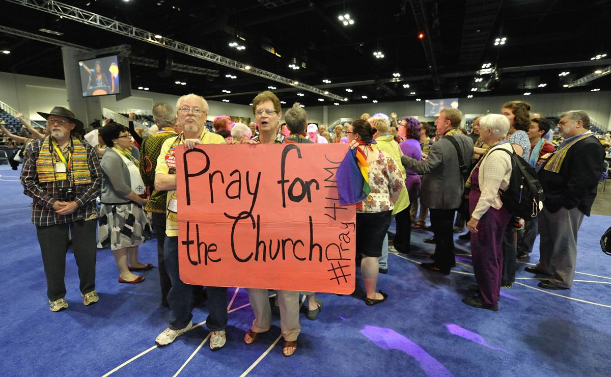 An alternative process for legislation related to the denomination's stance on homosexuality is aimed at fostering more open dialogue. Demonstrations in support of full inclusion of gays and lesbians in the life of church were held at the 2012 General Conference. A file photo by Kathleen Barry, UMNS