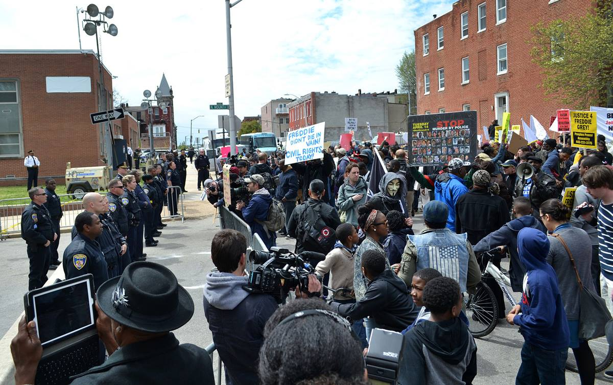 A protest following the death of Freddie Gray in police custody, held at a Baltimore Police Department precinct on April 25.