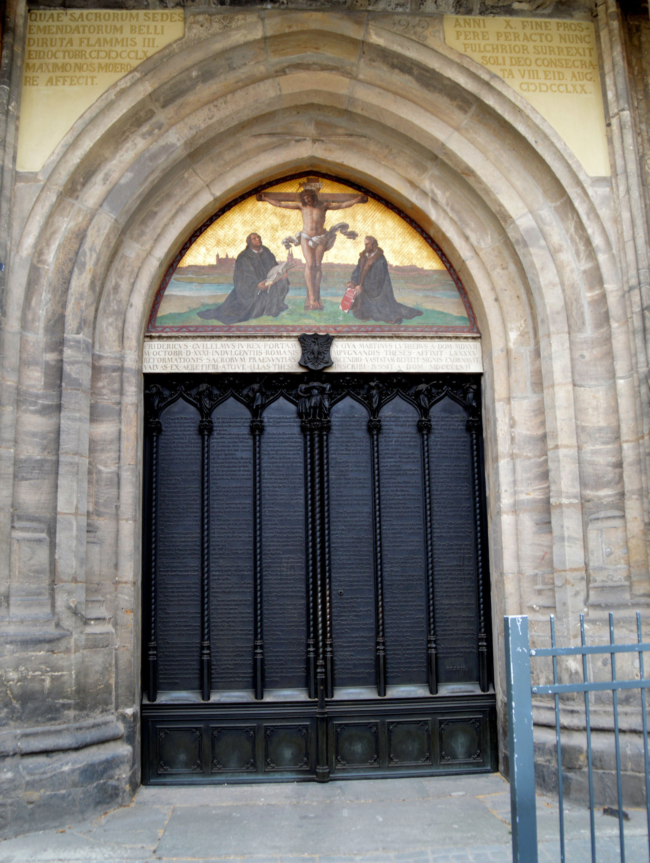 The door at Wittenberg's Castle Church where Martin Luther reportedly posted his 95 Theses on Oct. 31, 1517, launching the Protestant Reformation. At the time, the door served as a sort of university bulletin board. Today, his theses are engraved in the door. Photo by Klaus Ulrich Ruof.
