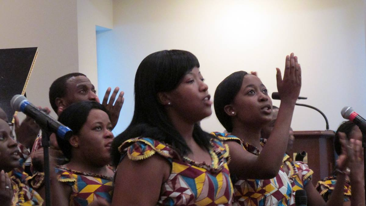 The Africa University Choir sang comforting hymn selections at Francis Burns United Methodist Church in Columbia, S.C., on June 19, the day after nine people were shot at Emanuel AME in Charleston. Photo by Betty Void