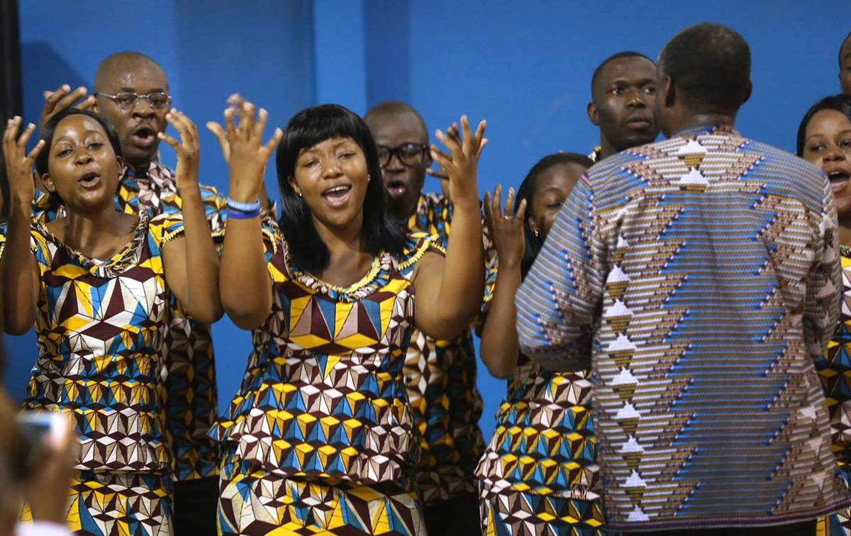 """The Africa University choir sang consoling hymn selections including """"Amazing Grace"""" and """"From a Distance"""" for United Methodists in South Carolina. The choir was in South Carolina when  the shootings at Emanuel AME happened. Photo courtesy of Africa University"""