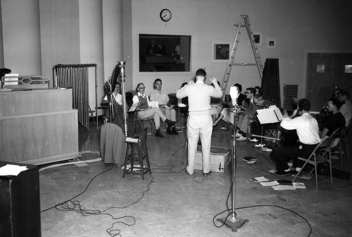 Choral music, as well as preaching, was part of The Protestant Hour. This recording session occurred in April 1955 at the Protestant Radio and Television Center in Atlanta. Photo courtesy the United Methodist Commission on Archives and History