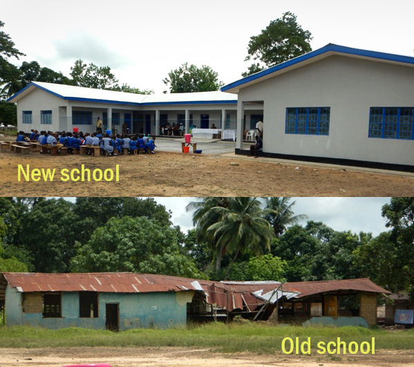(Top) Early arrivals at the new building sit and wait for the dedication ceremony. (Bottom) The old school building contrasts sharply with the improved building.