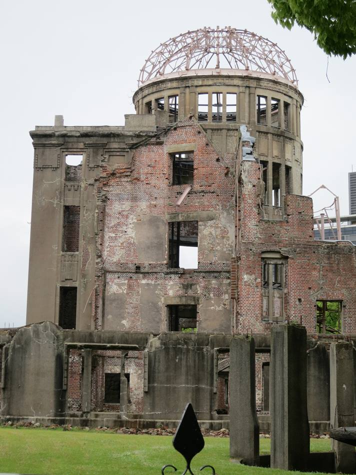 The Atomic Bomb Dome serves as a memorial to the people who died in the atomic bombing of Hiroshima, Japan, in 1945. The building was the only structure left standing near the bomb's hypocenter. Photo by Barbara Dunlap-Berg, UMNS