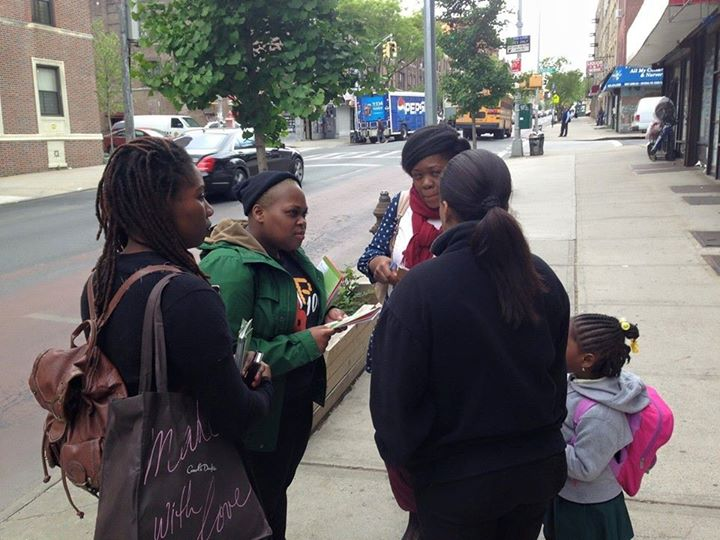 Volunteers with Black Youth Project 100 NYC and Black Lives Matter NYC canvassing in May on the issue of police violence against black women.
