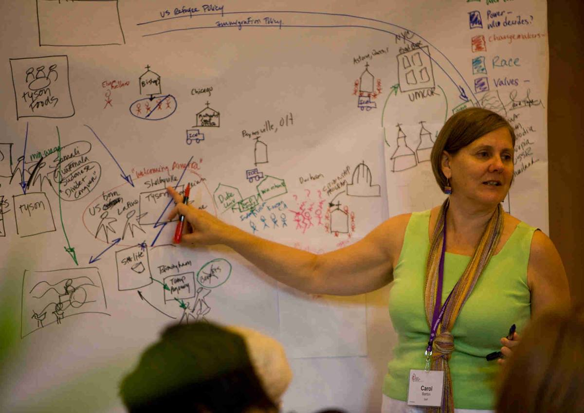 Carol Barton, a staff executive for United Methodist Women, leads a discussion during the 2011 National Seminar in Birmingham, Ala.