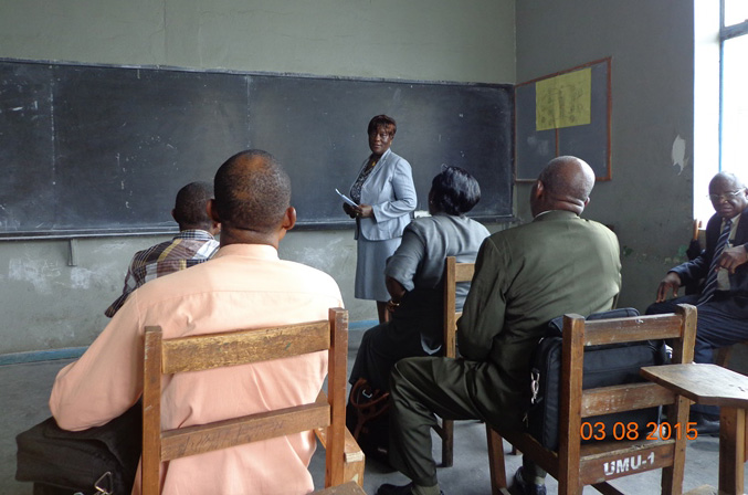 Dean Yatta R. Young addresses students during an orientation meeting for students of the United Methodist University Graduate School of Theology in Liberia. Photo by Julu Swen, UMNS