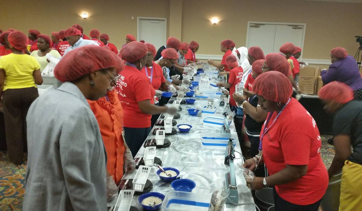 Black Clergywomen of The United Methodist Church prepare meals for Stop Hunger during their 27th annual meeting in Rockville, Maryland. Photo by the Rev. Cynthia M. Smart