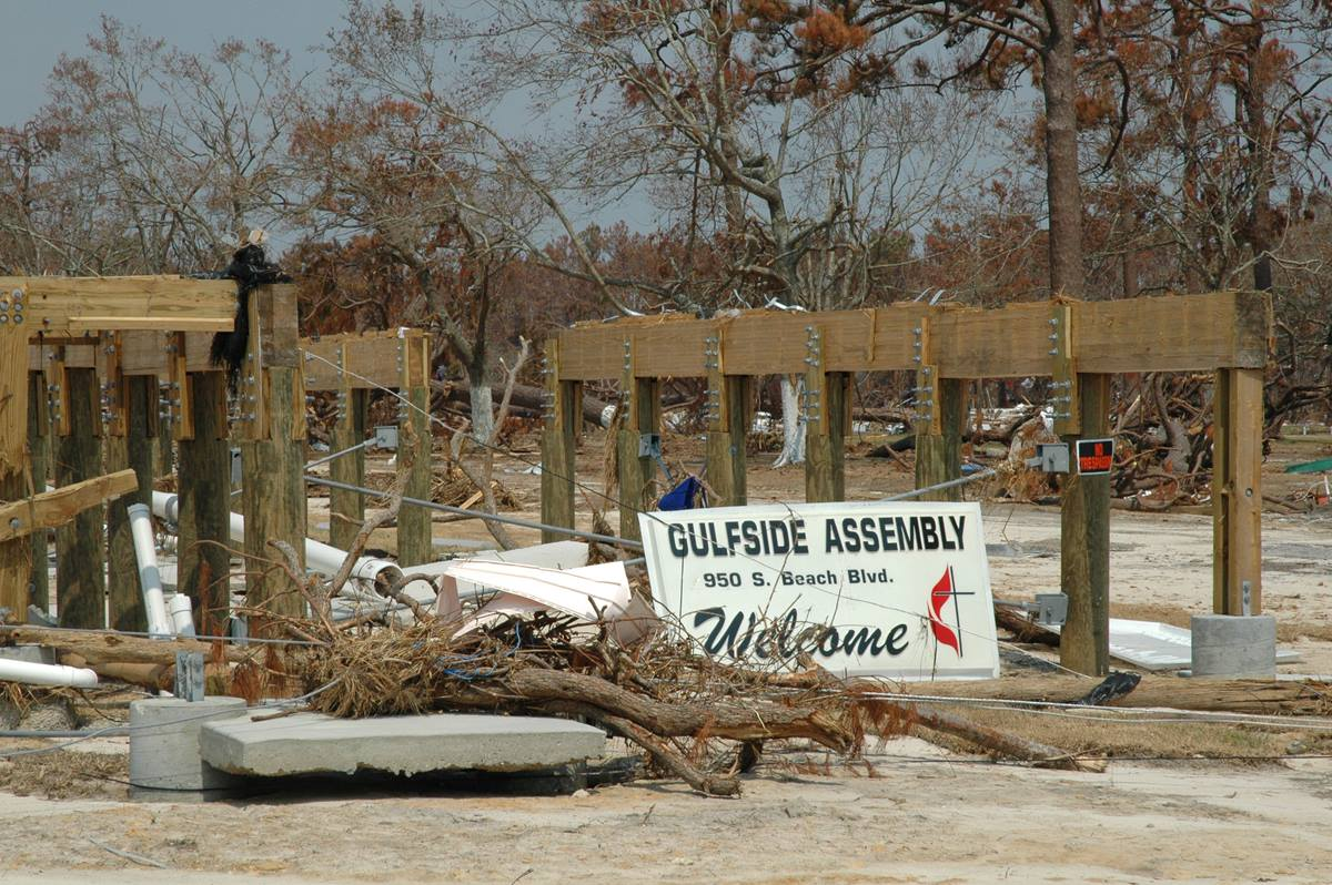 Most of the historic Gulfside Assembly in Waveland, Miss., lies in ruins after Hurricane Katrina. A UMNS photo by the Rev. Larry Hollon.